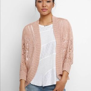 New BB DAKOTA pink blossom pointelle cardigan sz s